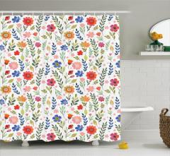 Pembe Turuncu Mavi Çiçek Desenli Duş Perdesi Şık