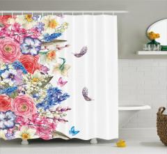 Çeyizlik Çiçekli Desenli Duş Perdesi Mor Pembe Mavi