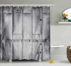 Nostaljik Metal Kapı Temalı Duş Perdesi Dekoratif