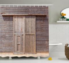 Ahşap Kapı ve Duvar Temalı Duş Perdesi Dekoratif