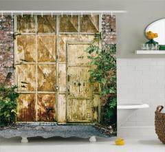 Metal Kapı ve Duvar Temalı Duş Perdesi Şık Tasarım