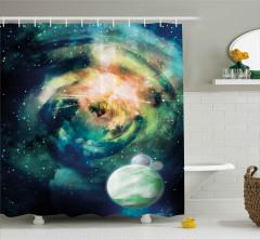 Gezegen Yıldız ve Uzay Desenli Duş Perdesi Lacivert