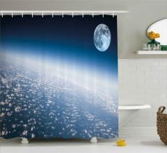 Ay ve Dünya Atmosferi Temalı Duş Perdesi Dekoratif