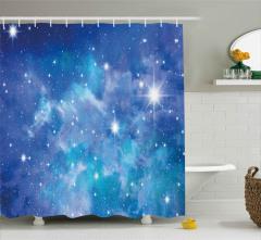 Uzay ve Yıldız Desenli Duş Perdesi Mavi Lacivert