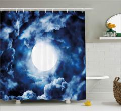 Bulut Girdabı ve Ay Desenli Duş Perdesi Mavi Beyaz