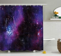Lacivert ve Mor Uzay Desenli Duş Perdesi Dekoratif