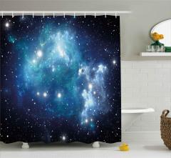 Evren ve Galaksi Desenli Duş Perdesi Şık Tasarım