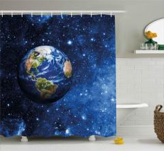 Dünya ve Yıldızlar Desenli Duş Perdesi Şık Tasarım