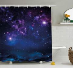 Lacivert Mor Uzay Desenli Duş Perdesi Şık Bulutlu