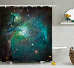 Turkuaz ve Mor Uzay Desenli Duş Perdesi Dekoratif