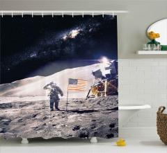 Şık Ay ve Astronot Desenli Duş Perdesi ABD Bayraklı