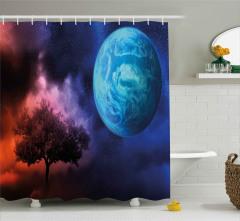 Ağaç ve Dünya Desenli Duş Perdesi Mavi Lacivert Mor