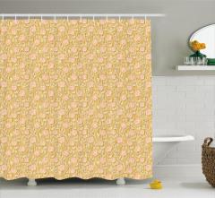 Şık Sarmaşık Gülü Desenli Duş Perdesi Pembe ve Sarı