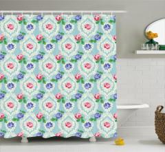 Lacivert Pembe Çiçek Desenli Duş Perdesi Şık Mavi