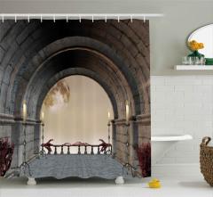 Kemerli Taş Balkon ve Ay Desenli Duş Perdesi Mumlu