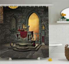 İksir Şişeleri ve Şato Desenli Duş Perdesi Dekoratif