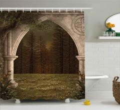 Sütunlu Kemer ve Orman Desenli Duş Perdesi Dekoratif