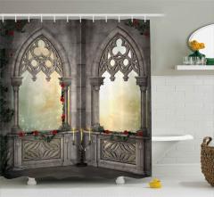 Mermer Şato Pencereleri Desenli Duş Perdesi Antik