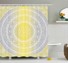 Gri Sarı Dairesel Desenli Duş Perdesi Dekoratif