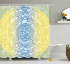 Sarı Mavi Dairesel Desenli Duş Perdesi Dekoratif