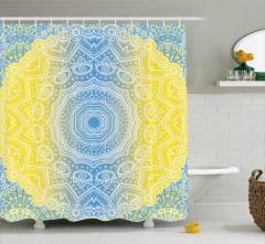 Sarı Mavi Çember Desenli Duş Perdesi Geometrik