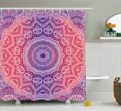 Çiçekli Geometrik Şal Desenli Duş Perdesi Dekoratif