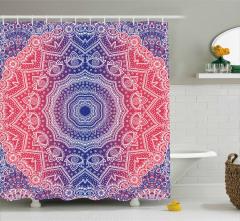 Geometrik Çiçekli Şal Desenli Duş Perdesi Dairesel