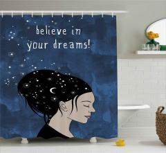 Siyah Saçlı Kız Desenli Duş Perdesi Hilal ve Yıldız
