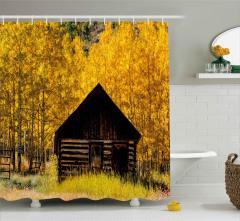 Sararmış Ağaçlar ve Baraka Duş Perdesi Dekoratif