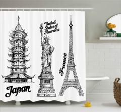 Üç Ülkeden Kuleler Duş Perdesi ABD Fransa Japonya