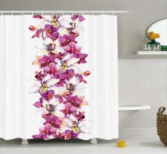 Mor ve Beyaz Çiçek Temalı Duş Perdesi Şık Tasarım