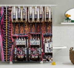Elektrik Sigortası Desenli Duş Perdesi Endüstriyel