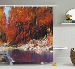 Yağlı Boya Nehir Desenli Duş Perdesi Sonbahar