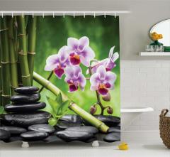 Bambu Taş ve Çiçek Temalı Duş Perdesi Mor Yeşil Şık