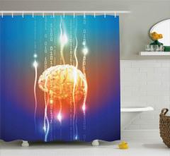 Geometrik Beyin Desenli Duş Perdesi Mavi Fonlu