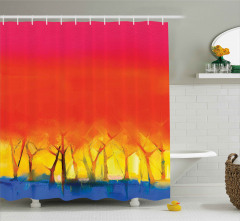 Sanatsal Sonbaharda Orman Desenli Duş Perdesi Şık