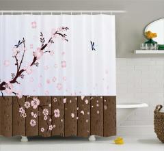 Çiçek Temalı Duş Perdesi Pembe Kahverengi Beyaz Şık