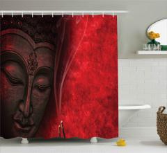 Meditasyon ve Tütsü Desenli Duş Perdesi Dekoratif