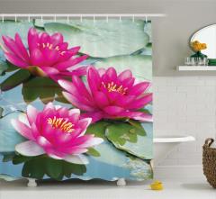 Pembe Çiçek ve Su Temalı Duş Perdesi Yaprak Yeşil