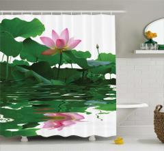 Çiçek ve Yaprak Temalı Duş Perdesi Su Pembe Yeşil
