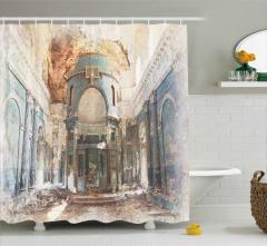 Mavi Sütunlu Antik Yapı Duş Perdesi Dekoratif