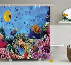 Su Altı Temalı Duş Perdesi Mavi Balık Şık Tasarım