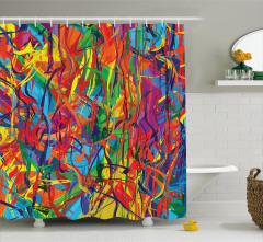 Rengarenk Fırça Darbeleri Duş Perdesi Sanatsal