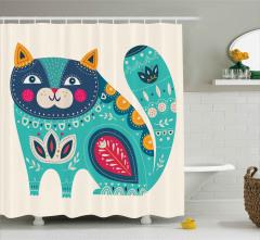 Pembe Yanaklı Kedi Desenli Duş Perdesi Sevimli