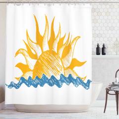 Denize Güneş Doğdu Duş Perdesi Dekoratif