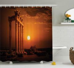 Güneş ve Antik Sütunlar Duş Perdesi Dekoratif