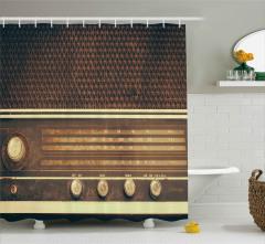 Retro Radyo Desenli Duş Perdesi Dekoratif