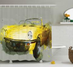 Sarı Üstü Açık Araba Duş Perdesi Dekoratif