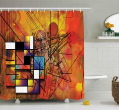 Sanatsal Geometrik Desenli Duş Perdesi Kahverengi