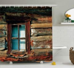 Ahşap Pencere ve Duvar Duş Perdesi Retro